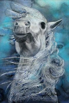Aufbäumendes Pferd, Mischtechnik auf Papier, ca. 60 x 80 cm