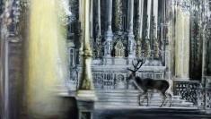 Kirchenhirsch oder Die einzig wahre Religion, 2018,  Öl auf Leinwand, 180 x 100 cm