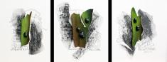 Murwatzisch, Frottage und Materialcollage auf Papier, 3 x 20 x 20 cm