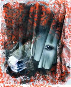 Pferd im Vorhang, Öl und Acryl,  40 x 50 cm