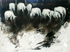 Weidende Schafe, Acryl auf Leinwand,  50 x 70 cm