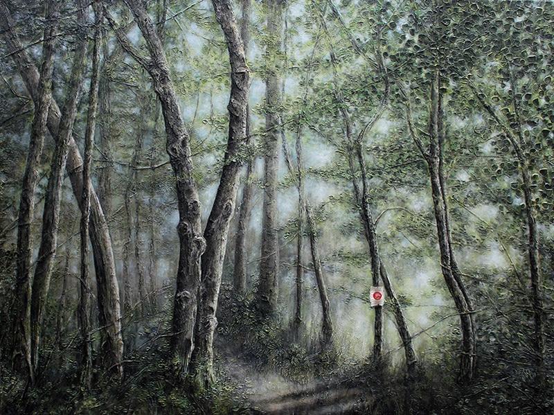 Ein Baustellenschild im Wald …