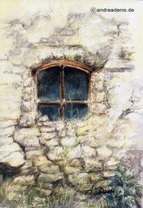 Altes Fenster. Bauernhaus Lebach, Hahn, Gemälde